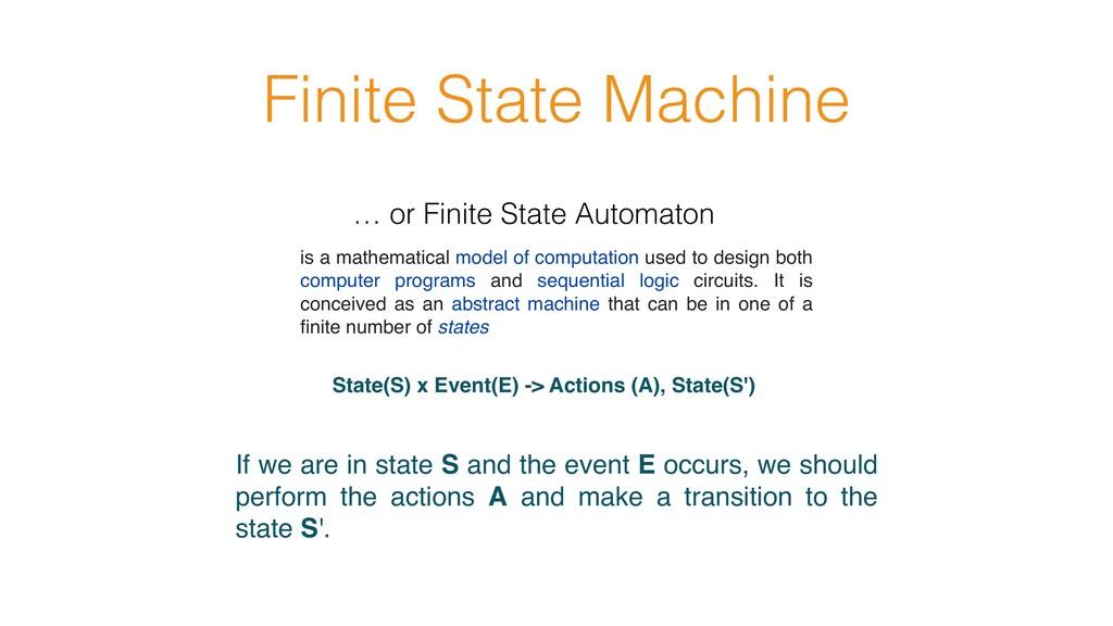 Finite State Machine State(S) x Event(E) -> Act...