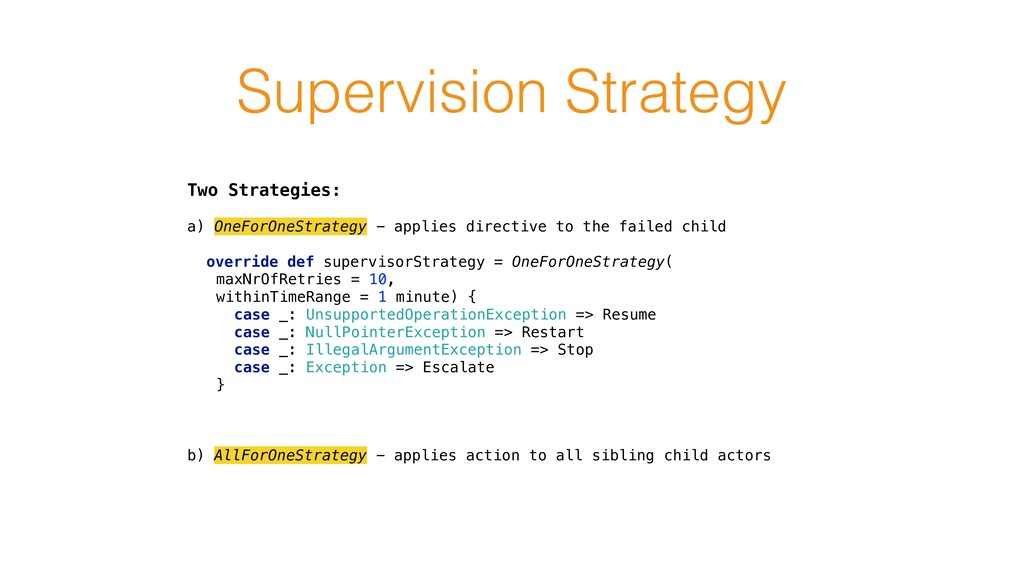 Supervision Strategy Two Strategies: a) OneForO...