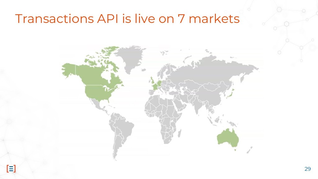 Transactions API is live on 7 markets 29