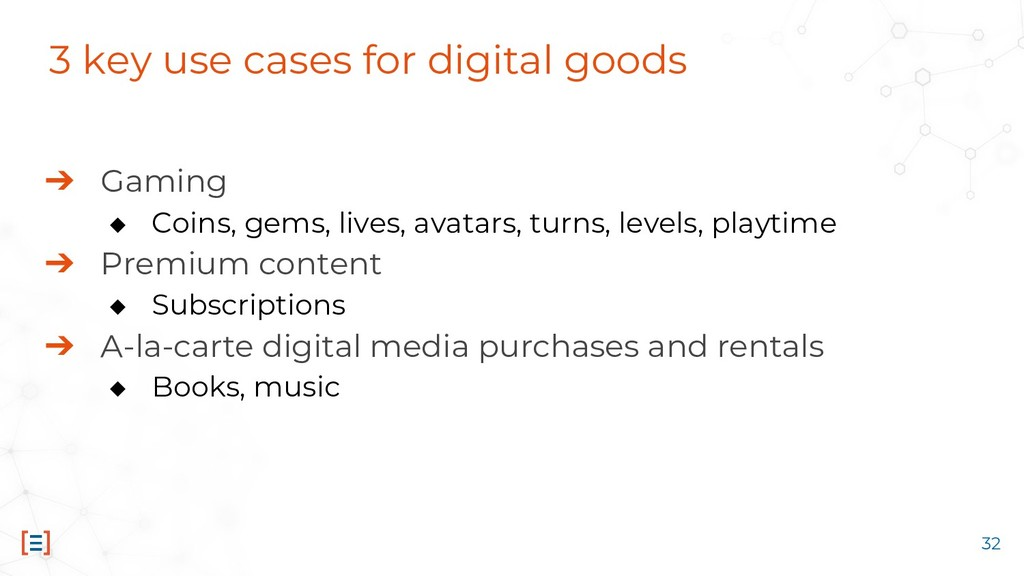 3 key use cases for digital goods ➔ Gaming ◆ Co...