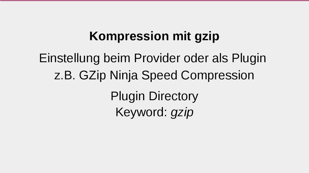 Kompression mit gzip Einstellung beim Provider ...