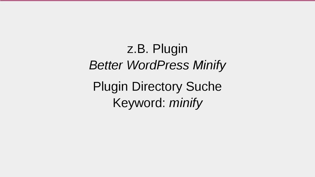 z.B. Plugin Better WordPress Minify Plugin Dire...