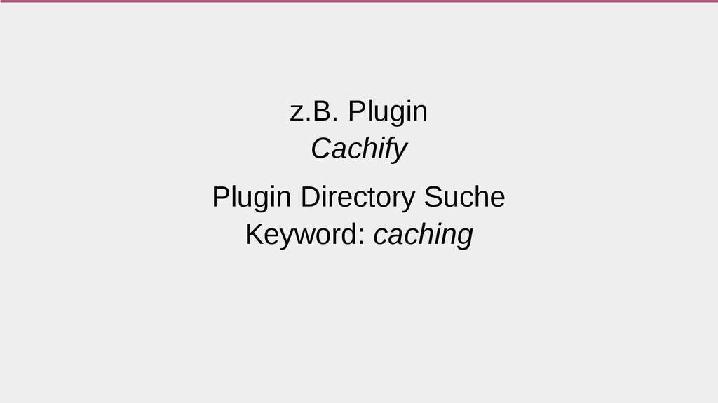 z.B. Plugin Cachify Plugin Directory Suche Keyw...
