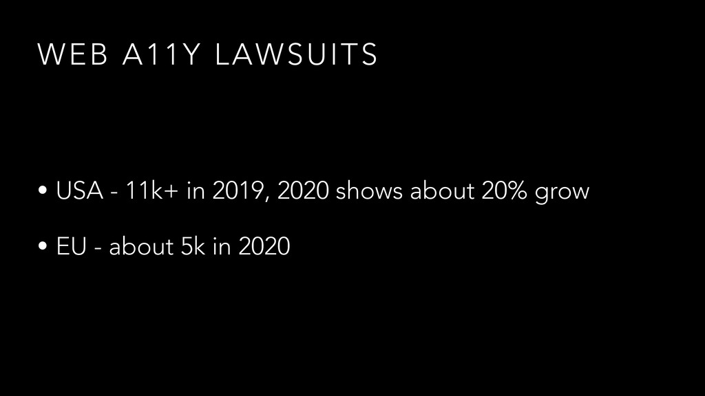 WEB A11Y LAWSUITS • USA - 11k+ in 2019, 2020 sh...