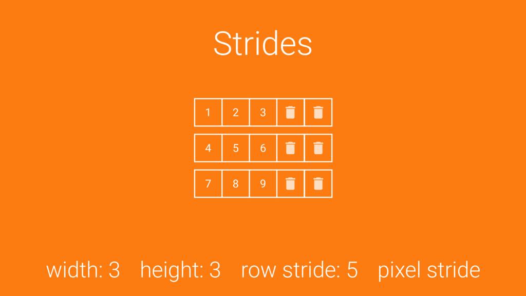 Strides width: 3 height: 3 row stride: 5 pixel ...