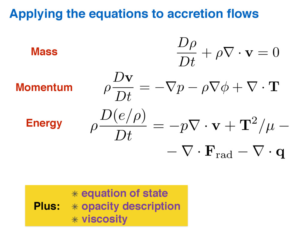 Applying the equations to accretion flows Plus: ...