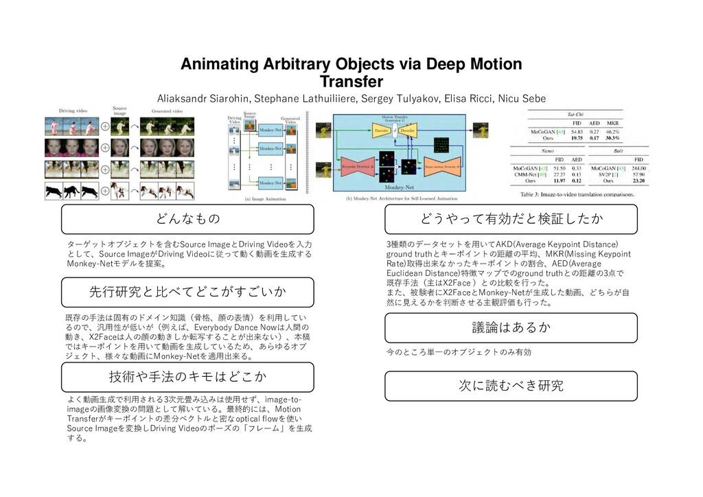 Animating Arbitrary Objects via Deep Motion Tra...
