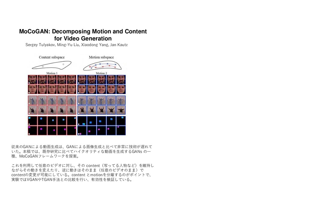 MoCoGAN: Decomposing Motion and Content for Vid...