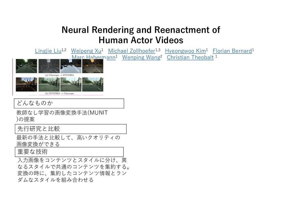 Neural Rendering and Reenactment of Human Actor...