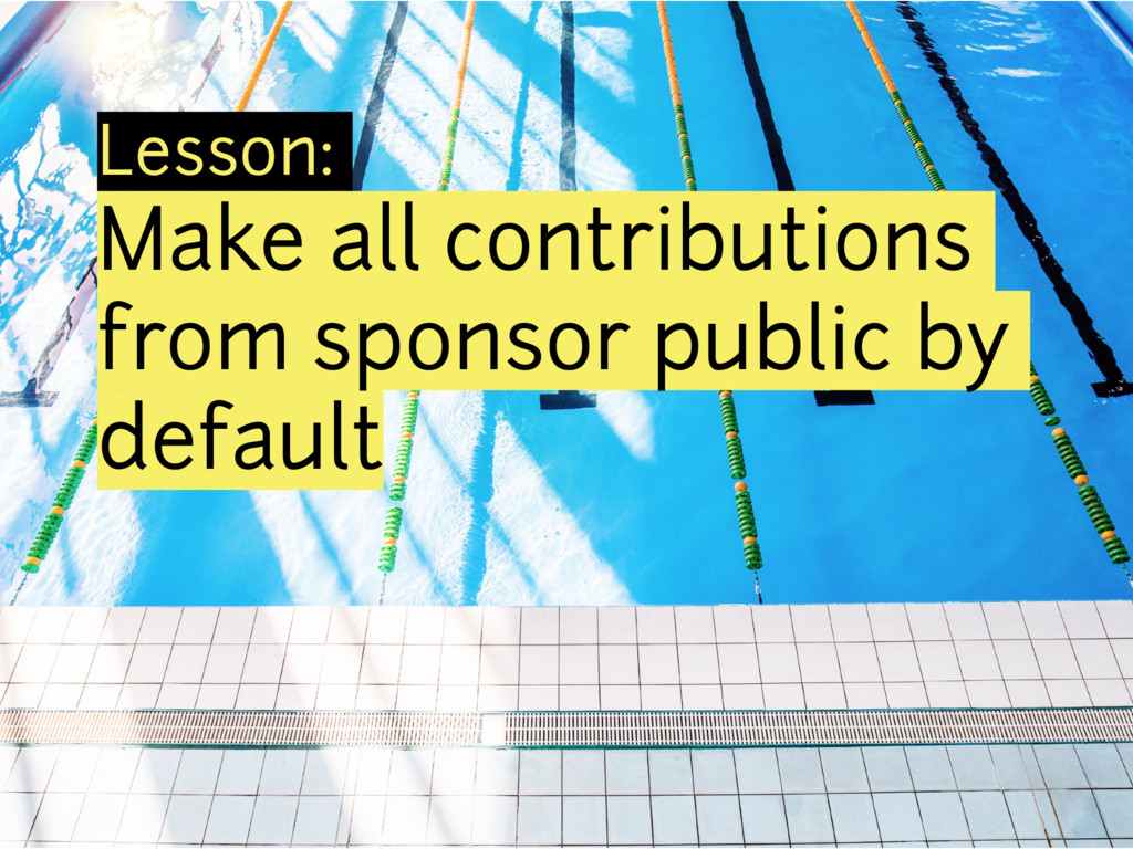 Lesson: Make all contributions from sponsor pub...