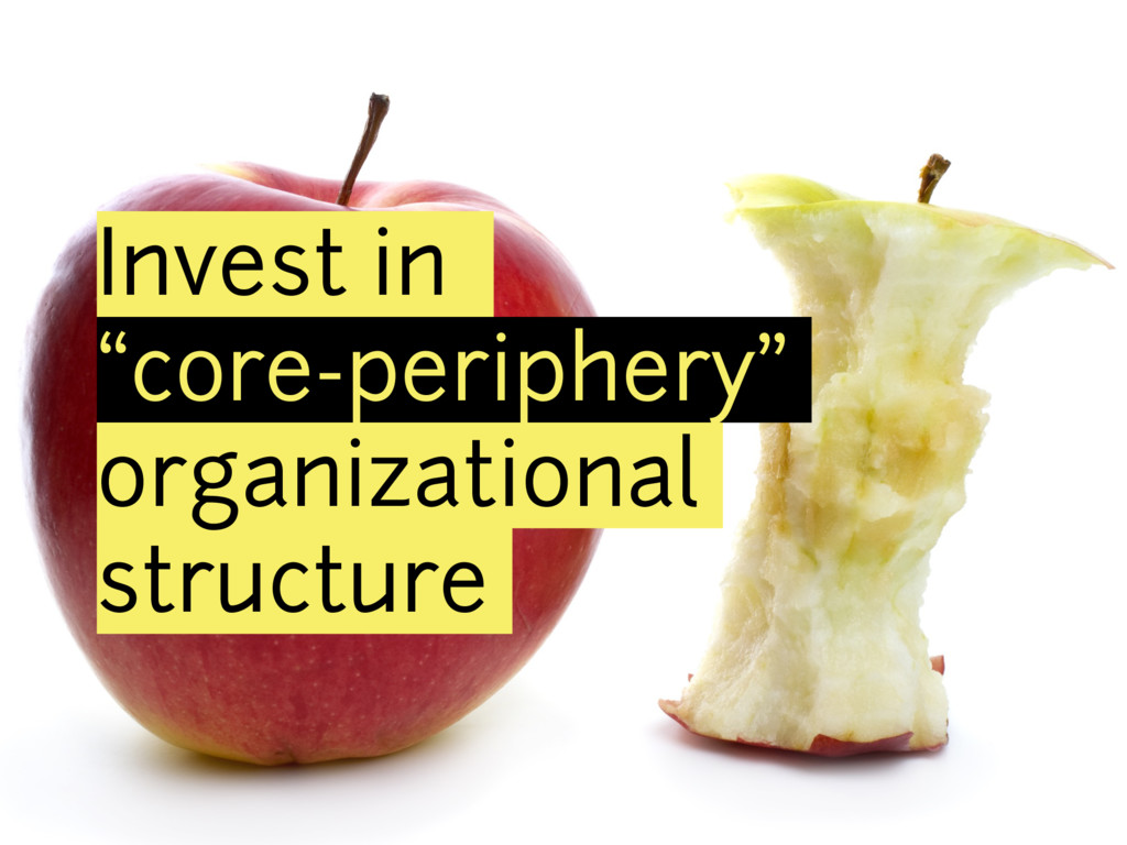 "Invest in ""core-periphery"" organizational struc..."