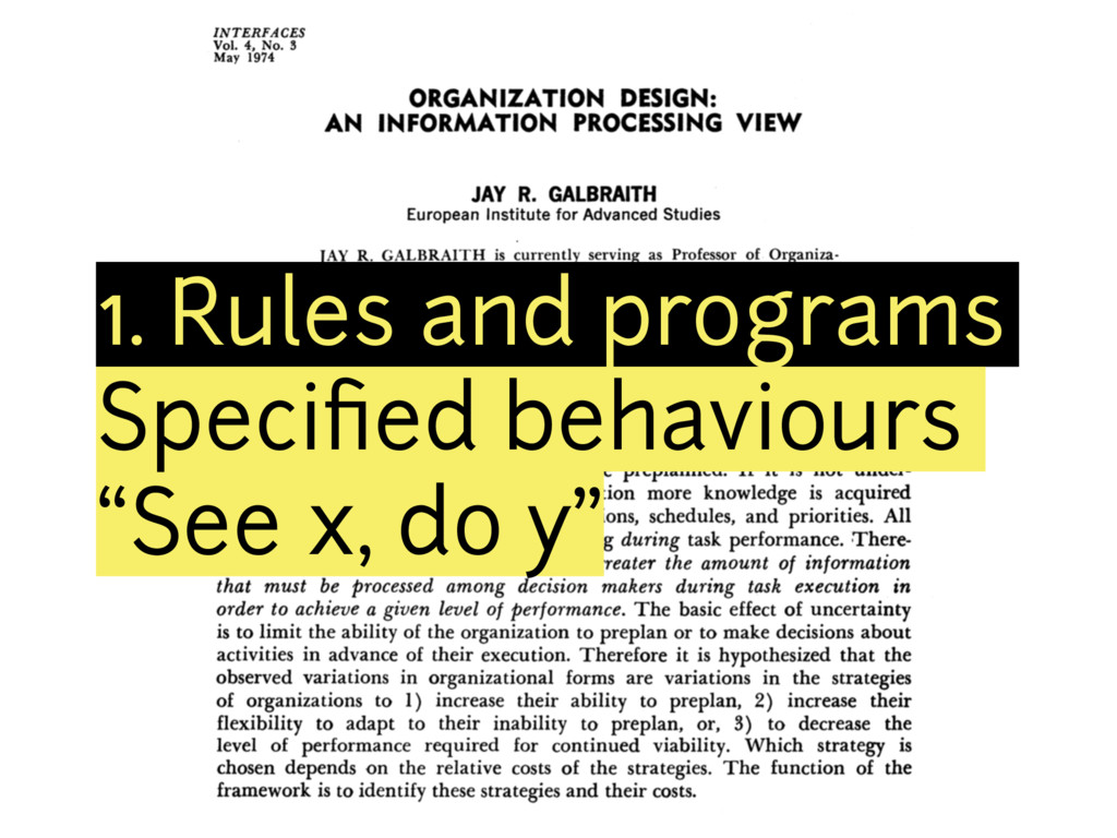"1. Rules and programs Specified behaviours ""See ..."