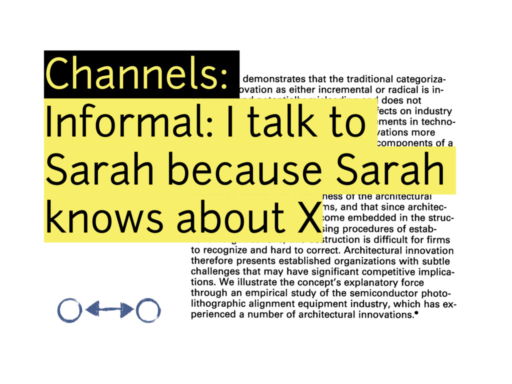 Channels: Informal: I talk to Sarah because Sar...