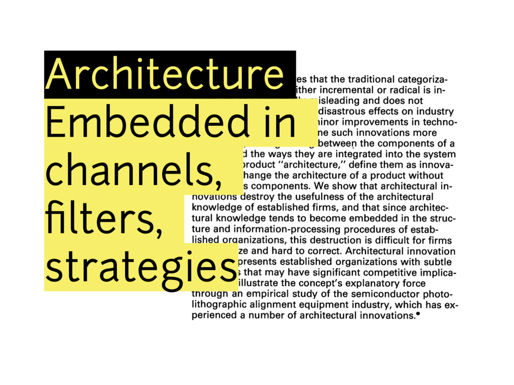 Architecture Embedded in channels, filters, stra...