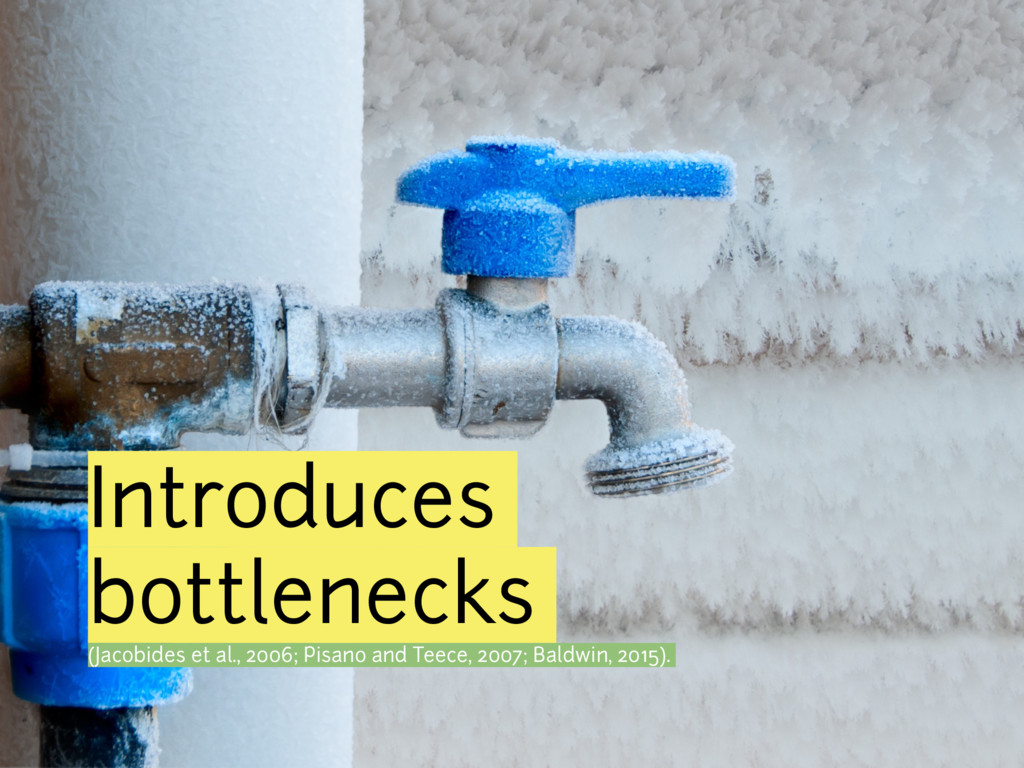 Introduces bottlenecks (Jacobides et al., 2006;...