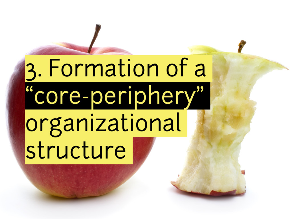"3. Formation of a ""core-periphery"" organization..."