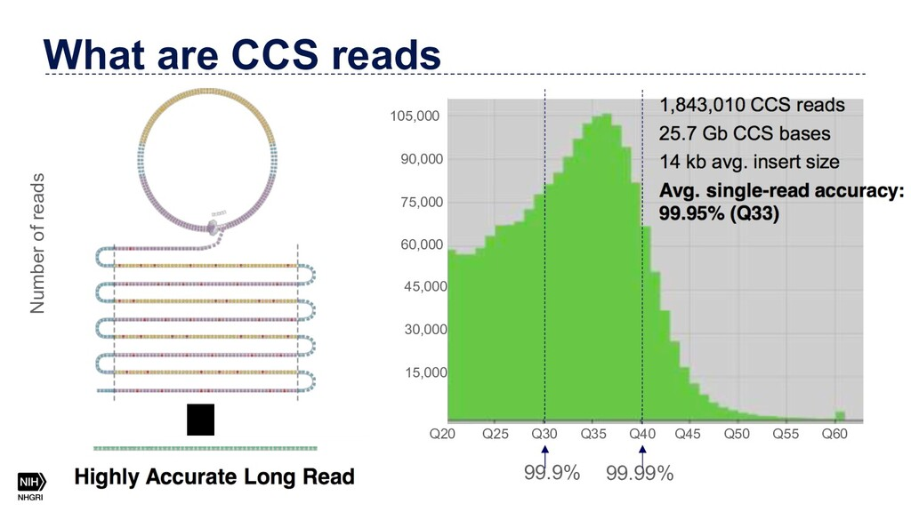 What are CCS reads Number of reads 99.9% 99.99%...