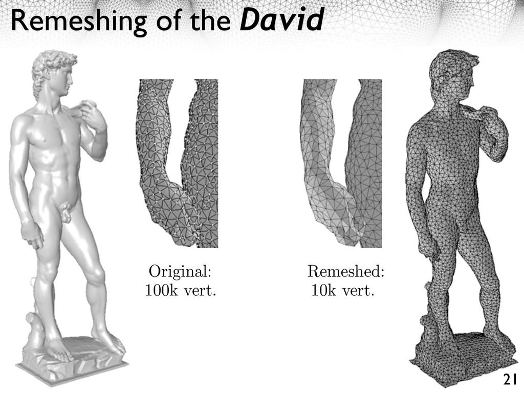 Remeshing of the David 21 Original: 100k vert. ...