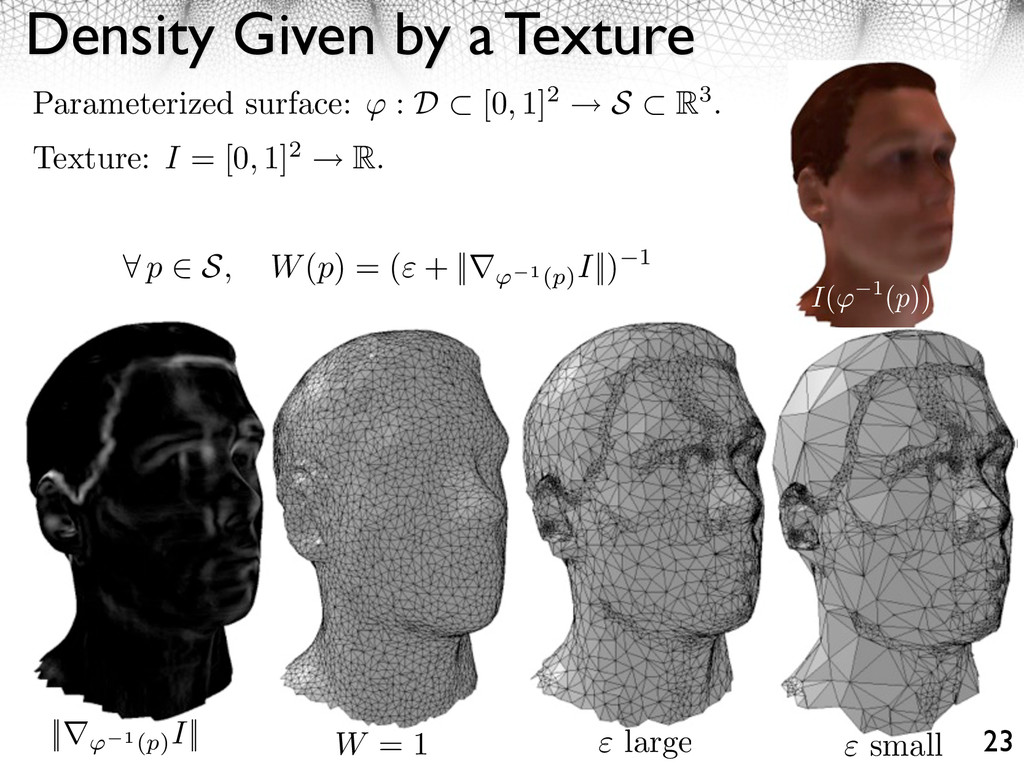 Density Given by a Texture 23 Parameterized sur...