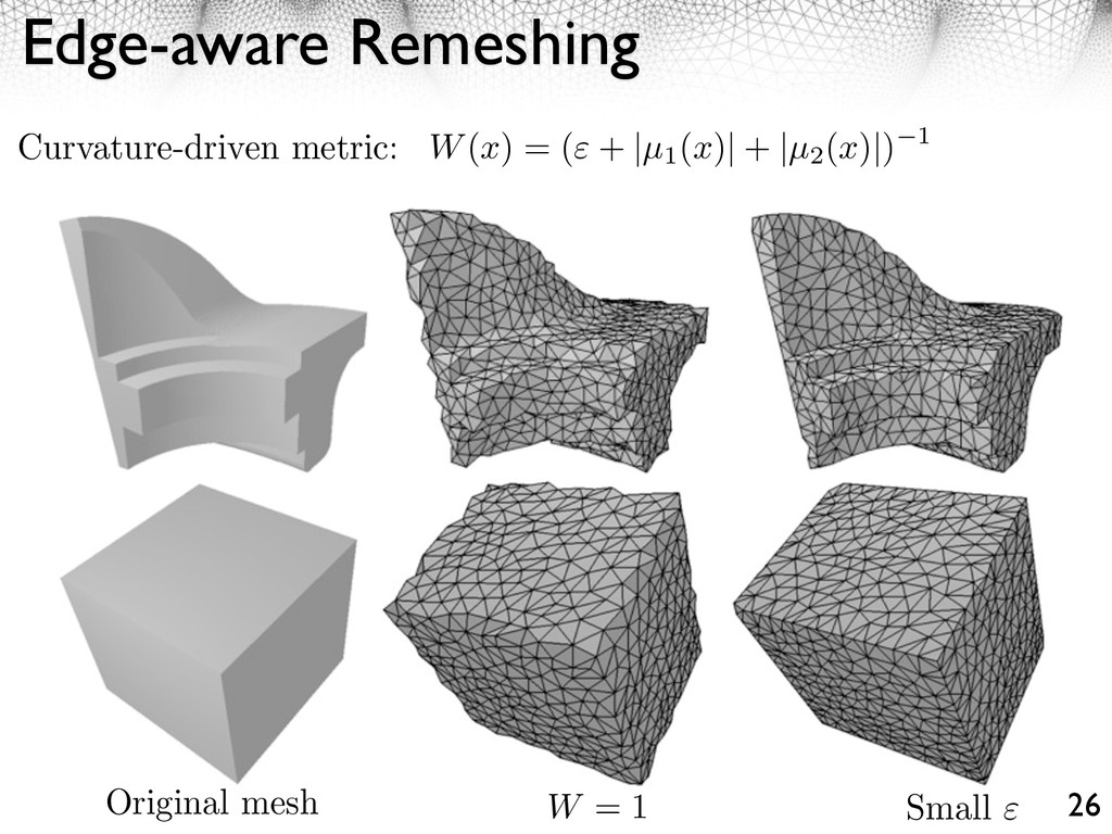 Edge-aware Remeshing 26 Original mesh W = 1 Sma...