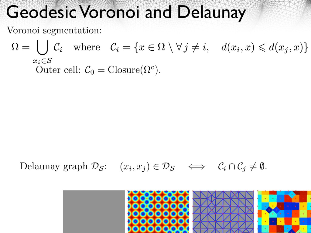 Geodesic Voronoi and Delaunay 9 Voronoi segment...