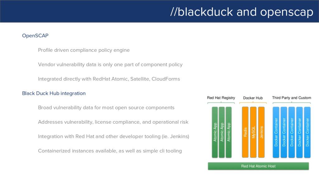 //blackduck and openscap OpenSCAP Profile drive...