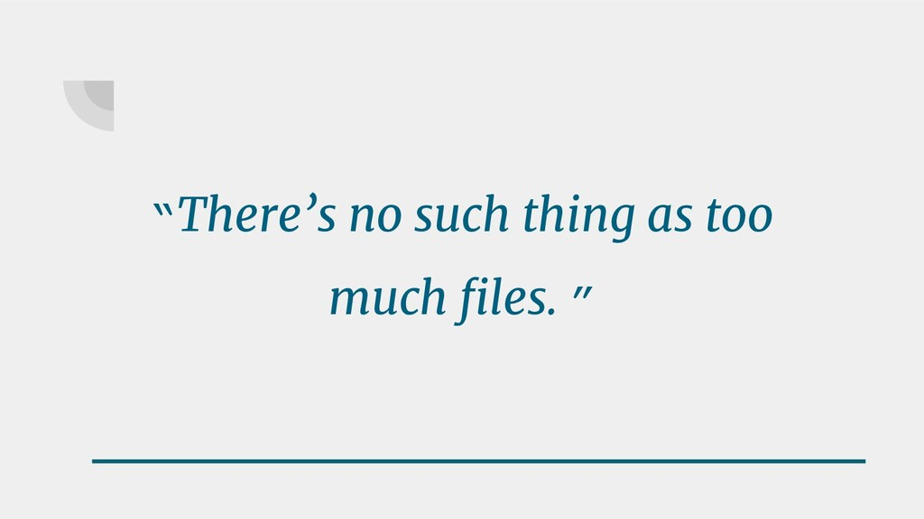 """""""There's no such thing as too much files. """""""