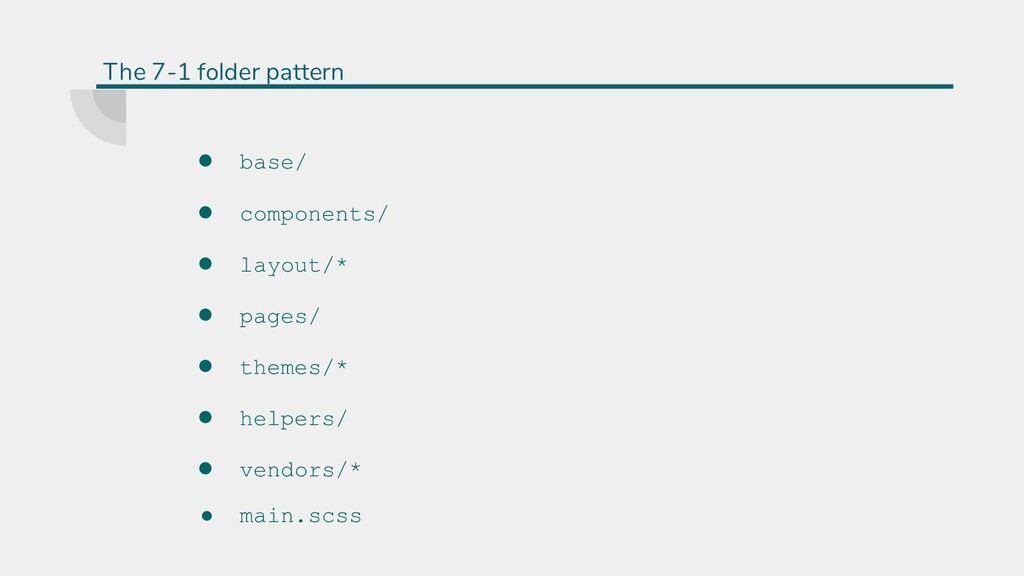 ● base/ ● components/ ● layout/* ● pages/ ● the...
