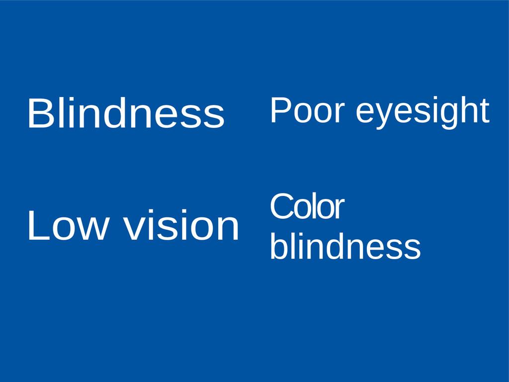 Blindness Low vision Poor eyesight Color blindn...