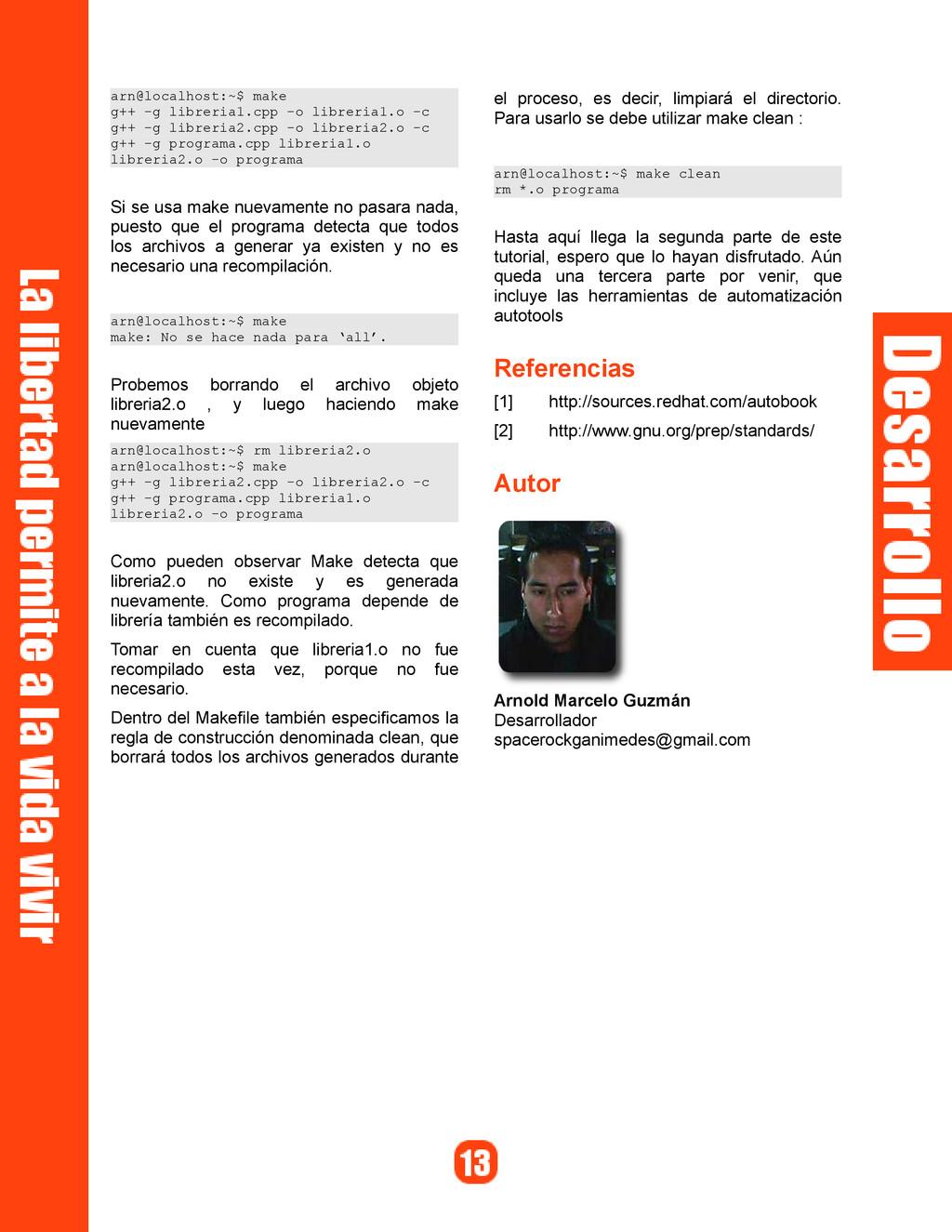 arn@localhost:~$ make g++ -g libreria1.cpp -o l...