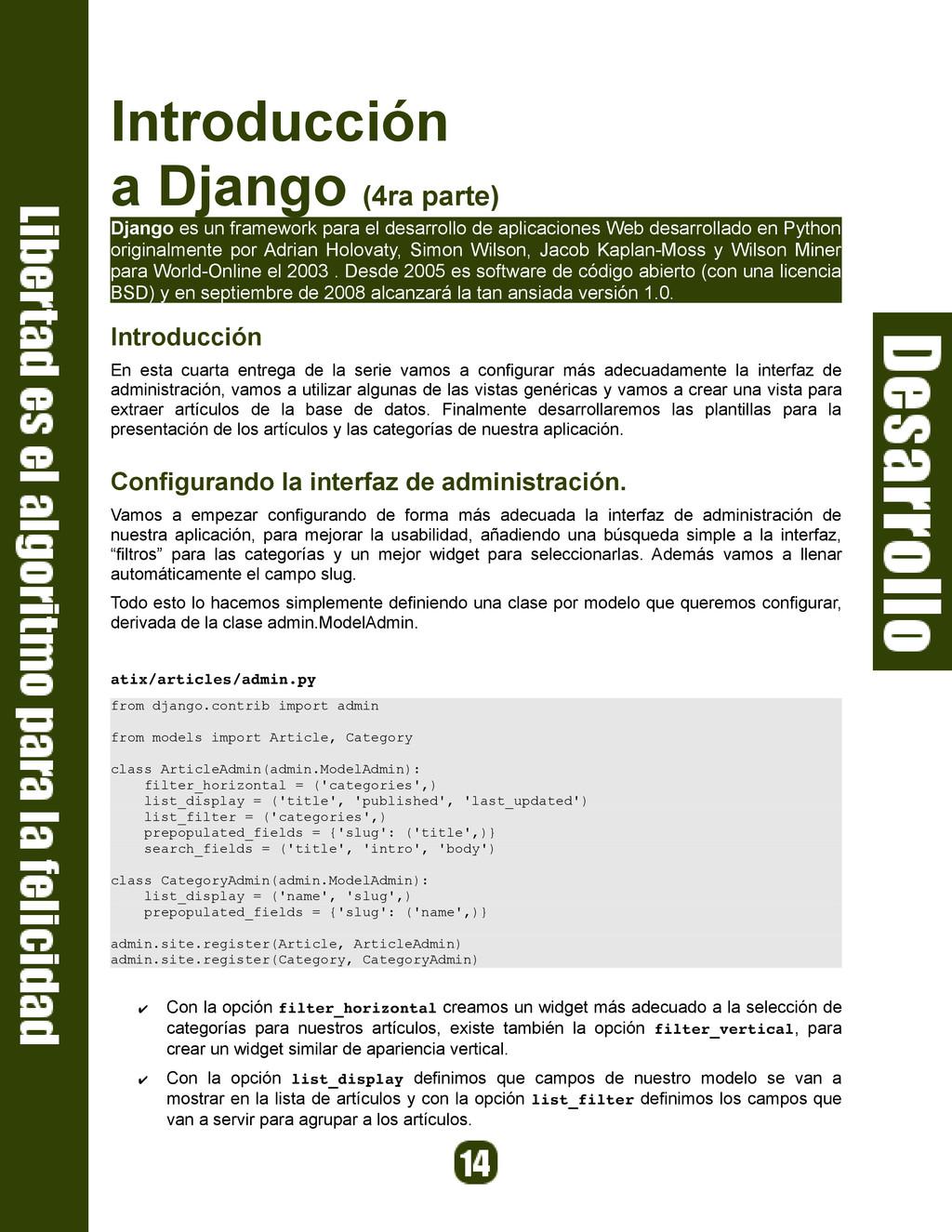 Introducción a Django (4ra parte) Django es un ...