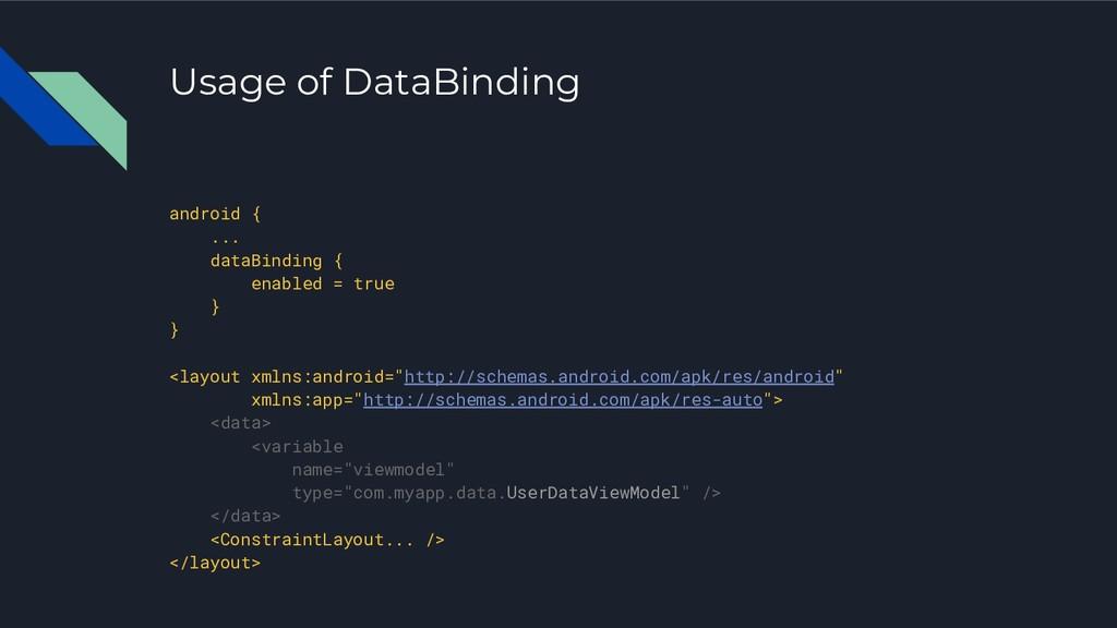 Usage of DataBinding android { ... dataBinding ...