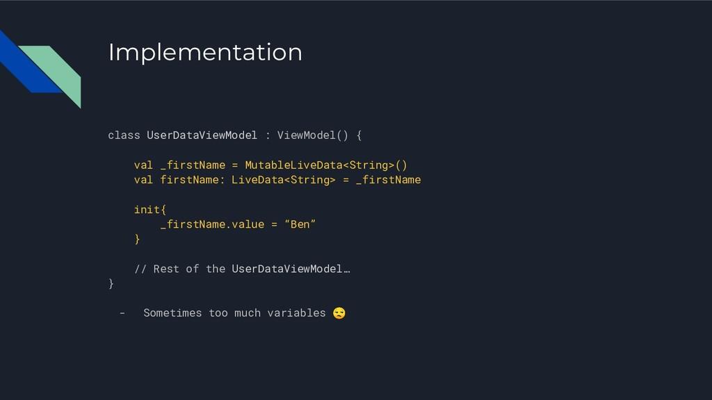 Implementation class UserDataViewModel : ViewMo...