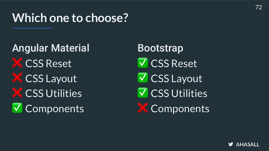 AHASALL Which one to choose? Angular Material ❌...