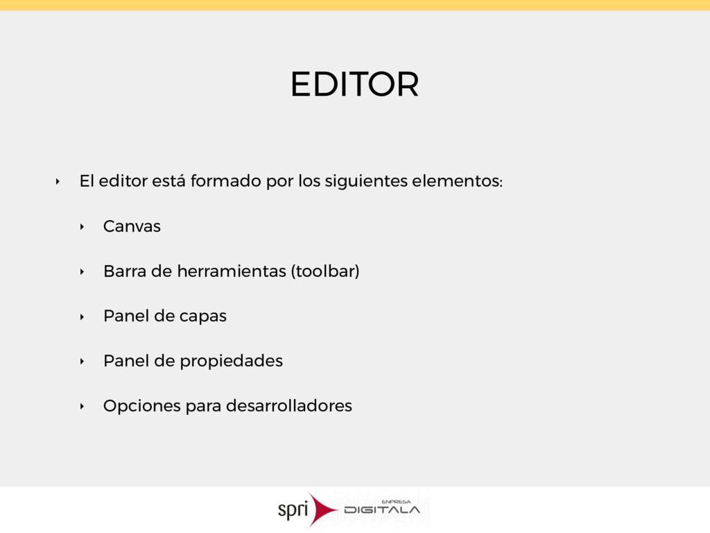 EDITOR ‣ El editor está formado por los siguien...