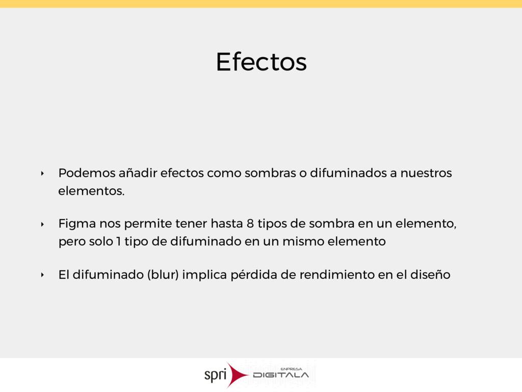 Efectos ‣ Podemos añadir efectos como sombras o...