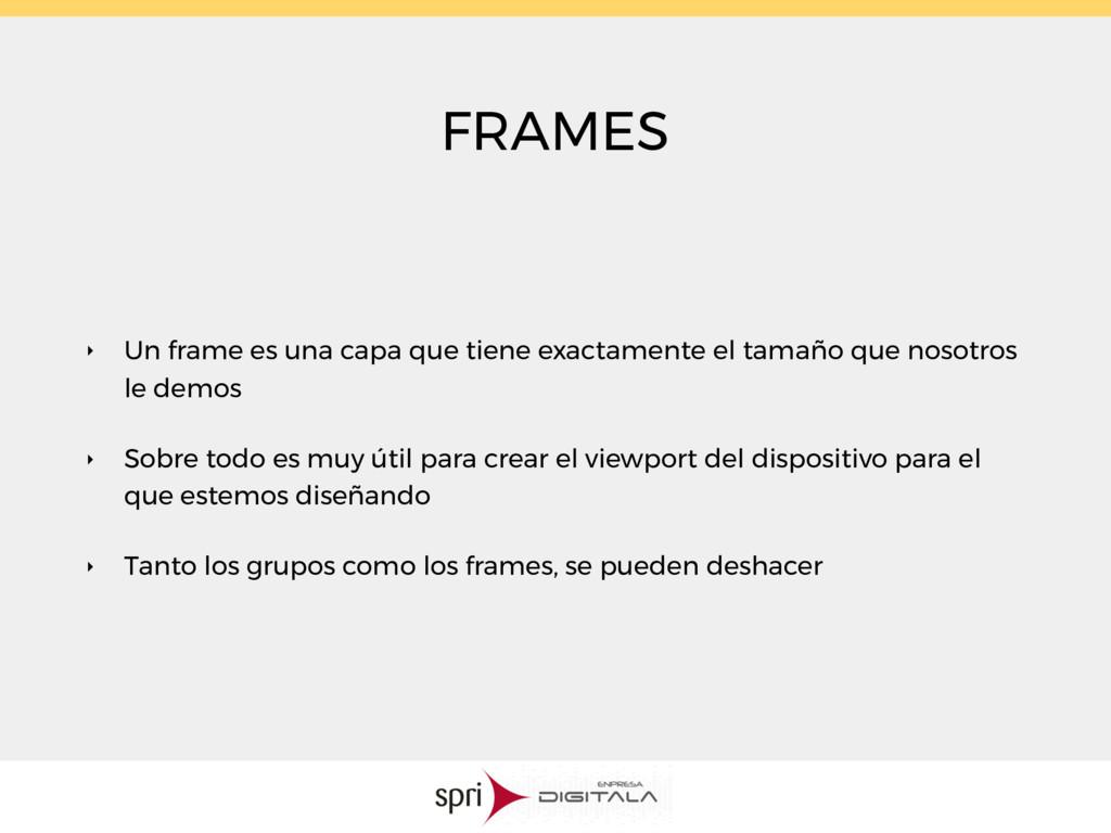 FRAMES ‣ Un frame es una capa que tiene exactam...