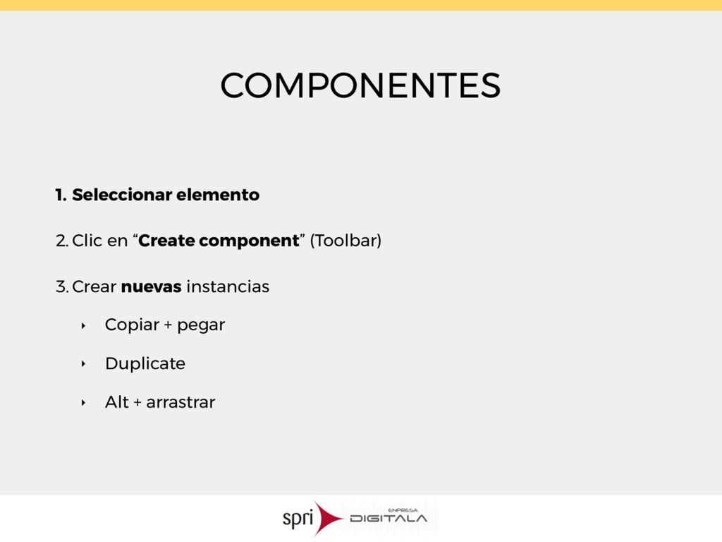 COMPONENTES 1. Seleccionar elemento 2. Clic en ...