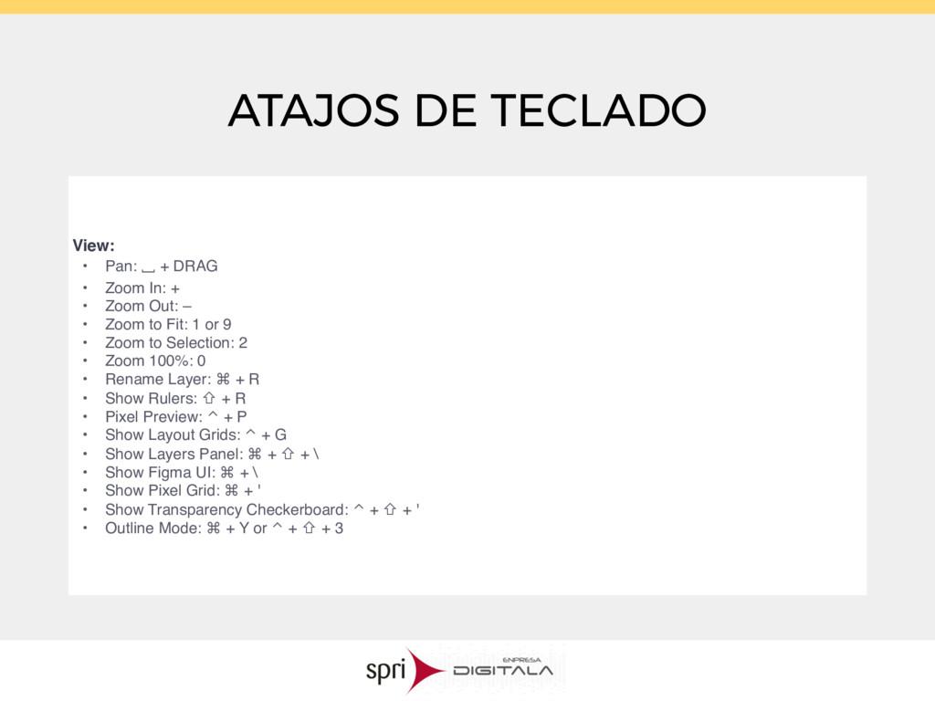 ATAJOS DE TECLADO View: • Pan: ⎵ + DRAG • Zoom ...