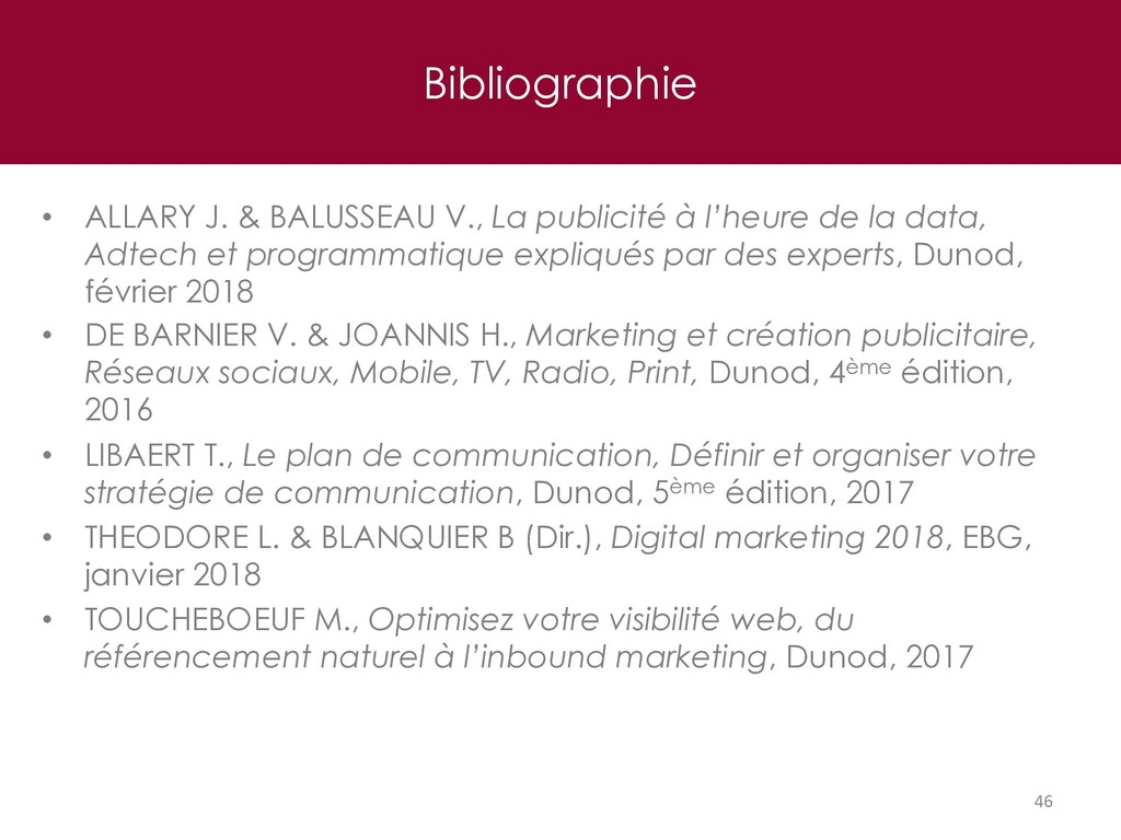 Bibliographie 46 • ALLARY J. & BALUSSEAU V., La...