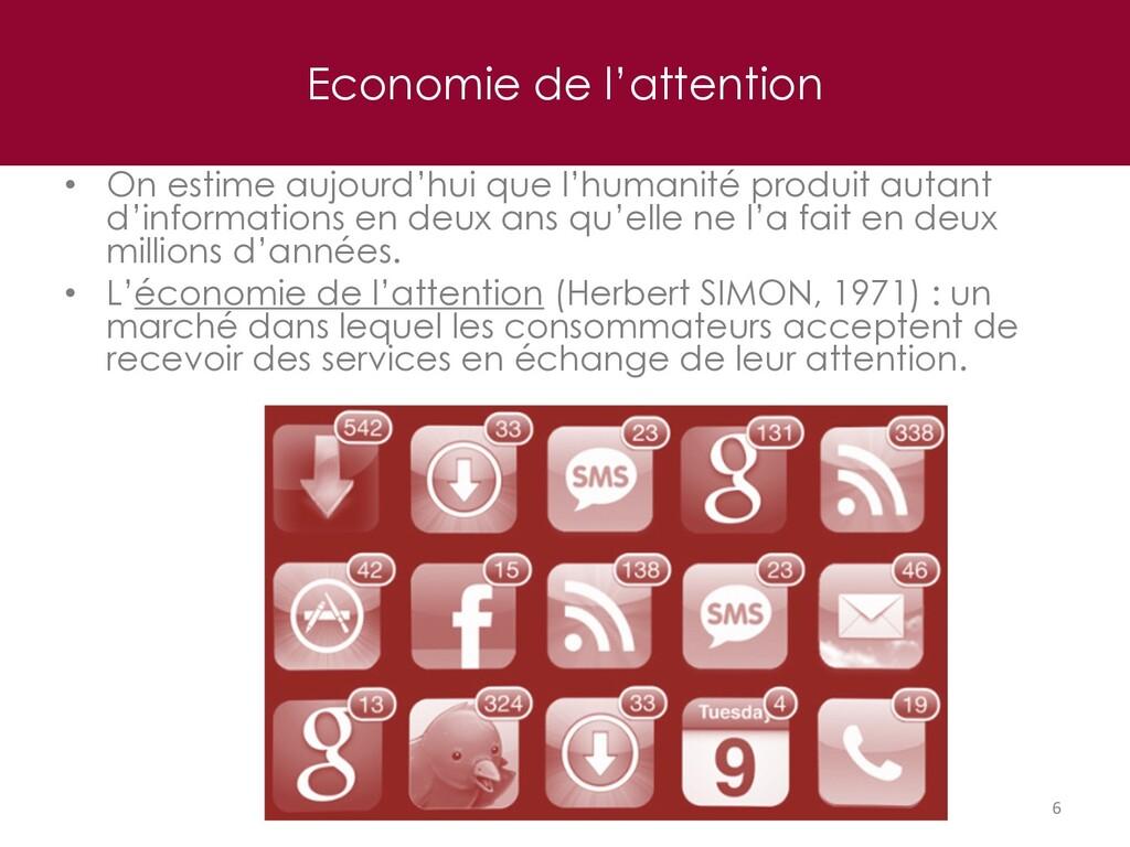 Economie de l'attention 6 • On estime aujourd'h...