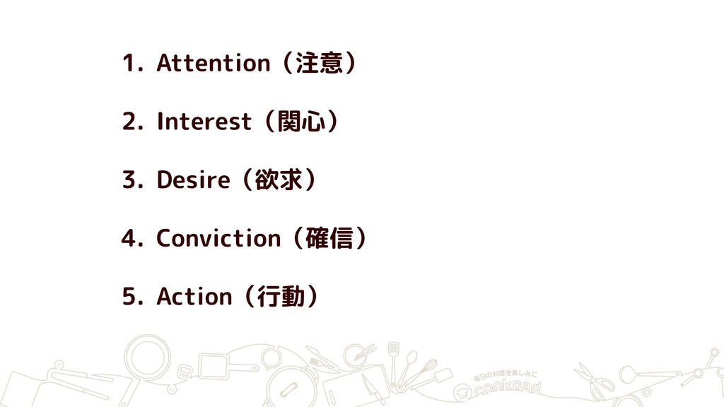 1. Attention(注意) 2. Interest(関心) 3. Desire(欲求) ...