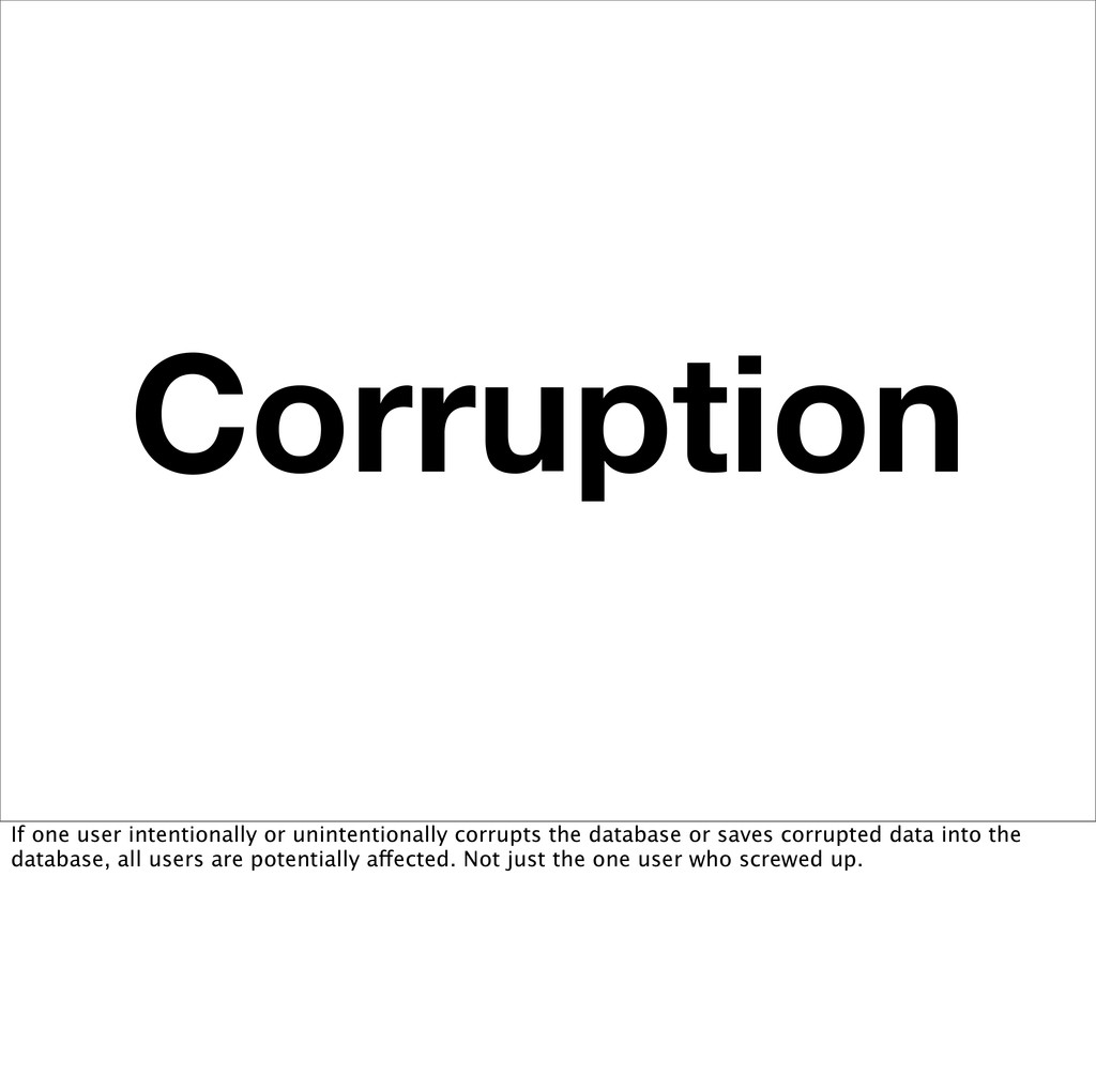 Corruption If one user intentionally or uninten...