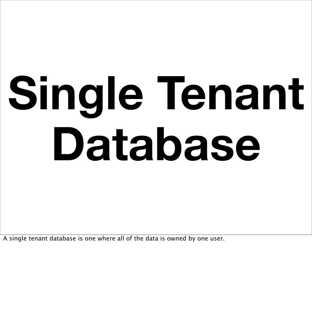 Single Tenant Database A single tenant database...