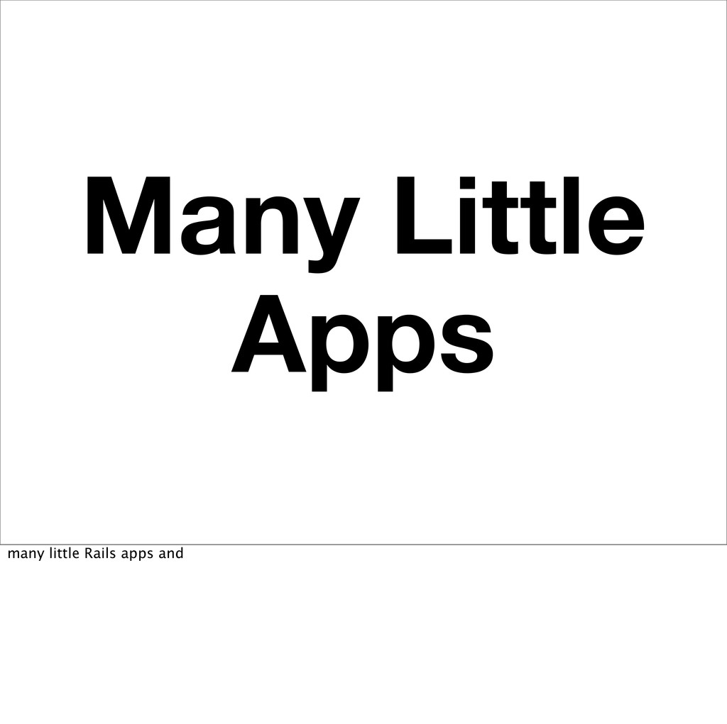 Many Little Apps many little Rails apps and