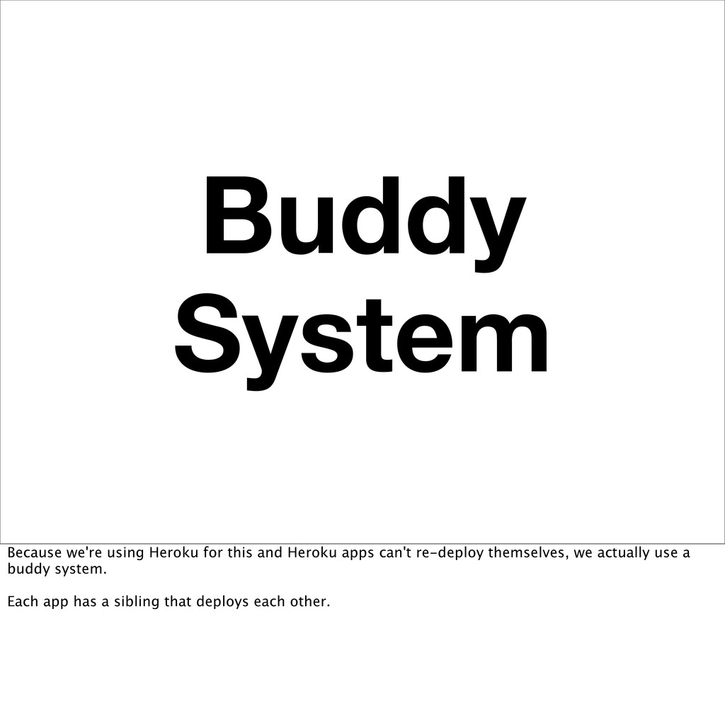 Buddy System Because we're using Heroku for thi...