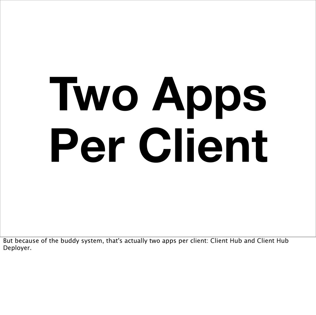 Two Apps Per Client But because of the buddy sy...