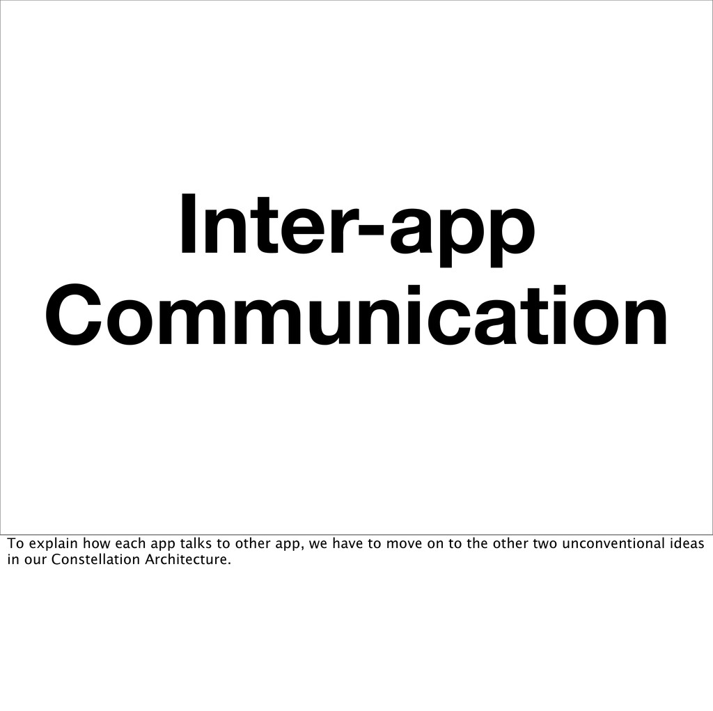 Inter-app Communication To explain how each app...