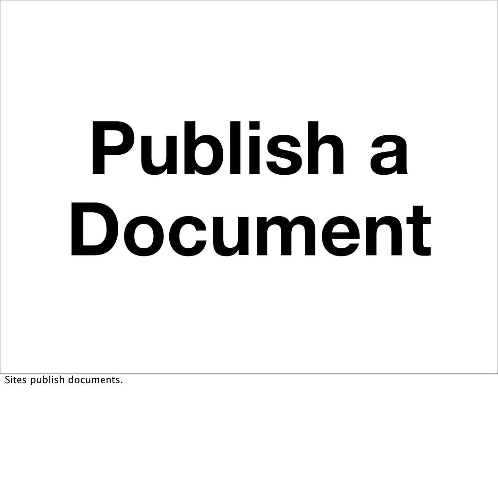 Publish a Document Sites publish documents.