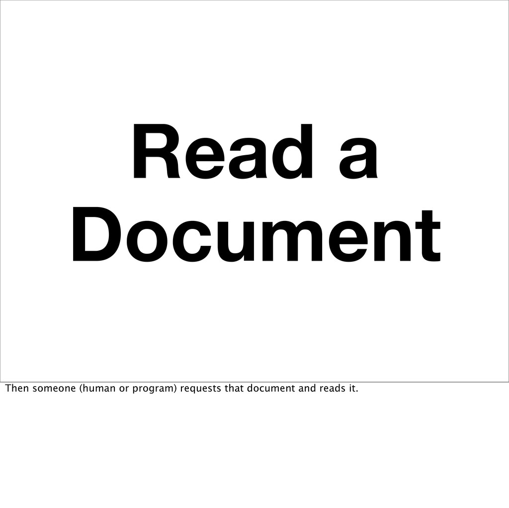 Read a Document Then someone (human or program)...